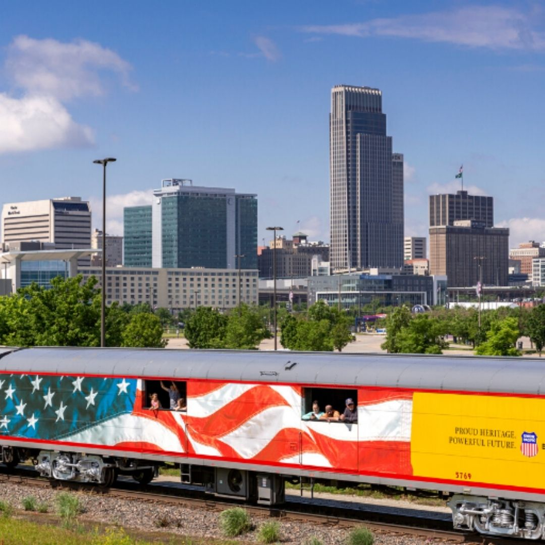 train passing downtown omaha